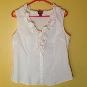 Merona White Sleeveless Ruffle Shirt in sz medium
